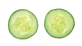 Cucumber and slices. Isolated over white background Stock Image