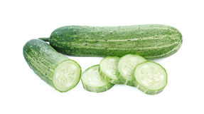Cucumber and slices isolated over white background Royalty Free Stock Image