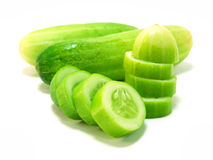 Cucumber. And slices isolated over white background Stock Photo