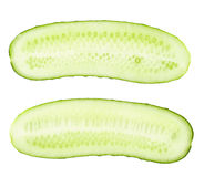 Cucumber and slices isolated over white Royalty Free Stock Photography