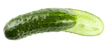 Cucumber and slices isolated over white Stock Photo