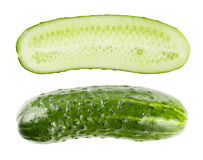 Cucumber and slices isolated over white Stock Image