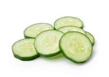 Cucumber and slices isolated over white background. Fresh Cucumber and slices isolated over white background Stock Photo