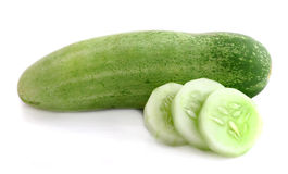 Cucumber and slices isolated on a white background Royalty Free Stock Image