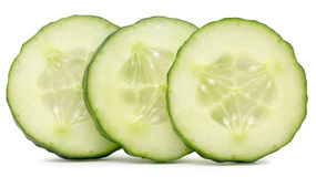 Cucumber slices  isolated on the white background Stock Image