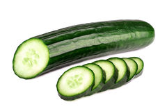 Cucumber and slices isolated on a white. Background Stock Images