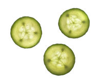 Cucumber slices. Isolated on white background Royalty Free Stock Photography