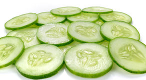 Cucumber slices isolated on white background Royalty Free Stock Photography