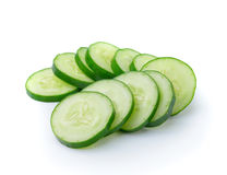 Cucumber and slices. Over white background Royalty Free Stock Photos