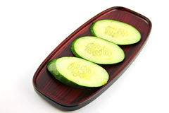 Cucumber slices placed in a dish. Stock Image