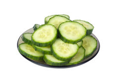 Cucumber slices on a plate Royalty Free Stock Photo