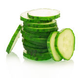 Cucumber slices. Stack isolated on white background Stock Image