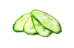Cucumber slices on white Stock Photos