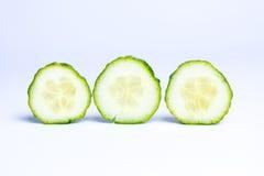 Cucumber slices on white background Stock Photo