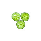 Cucumber slices on white background. Three cucumber slices on white background Stock Photo