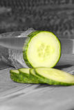 Cucumber slicing Royalty Free Stock Photography