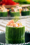 Cucumber with smoked salmon in dill sauce Stock Photo