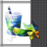 Cucumber. Smoothie in watercolor style Royalty Free Stock Photos