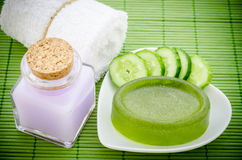 Cucumber soap with spa treatment. Stock Images