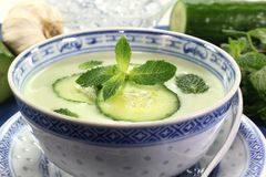 Cucumber soup Stock Images