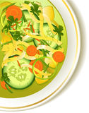 Cucumber soup. Delicious cucumber soup with pasta Royalty Free Stock Images