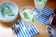 Cucumber soup - cold served meal Stock Photos