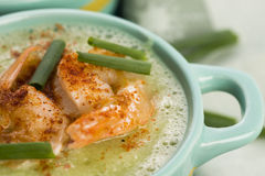 Cucumber soup with herbs and shrimps Stock Images