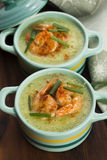 Cucumber soup with herbs and shrimps Stock Image