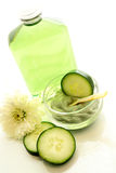 Cucumber spa treatment. Refreshing cucumber spa facial and body treatment Royalty Free Stock Image