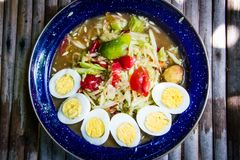 Cucumber spicy salad. With eggs Royalty Free Stock Images