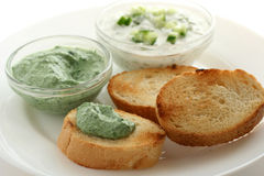 Cucumber and spinach dip with bread Stock Photo
