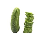 Cucumber and stack of slices. Royalty Free Stock Images