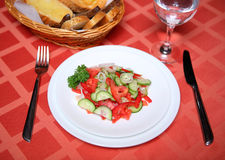 Cucumber tomato appetizing vegetable salad. On a served table Royalty Free Stock Image