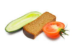 Cucumber, tomato and bread Royalty Free Stock Photos