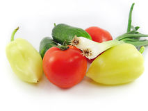 Cucumber tomato bulb pepper vegetable food Stock Photo