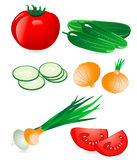 Cucumber and tomato onion Stock Photo