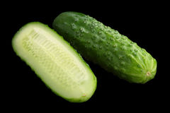 Cucumber vegetable on black. Cucumber vegetable isolated on black background Stock Images