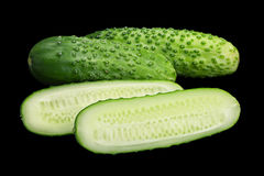 Cucumber vegetable on black. Cucumber vegetable isolated on black background Royalty Free Stock Images