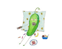 Cucumber watches TV, eats and drinks coffee Stock Photo