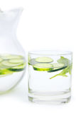 Cucumber water. In the glass stock photos