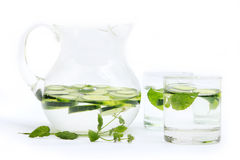 Cucumber water. In the glass stock image