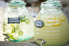 Cucumber water and lemonade Royalty Free Stock Photo