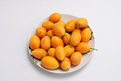 Yellow fruite SoutheastAsia. Fruit from Thailand orange-yellow fruit shaped oval. Light sweet taste like mango released in the summer prices Royalty Free Stock Photography