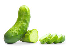 Cucumber on a white background. Royalty Free Stock Photography