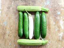 Cucumber with white eggplant and zucchini Royalty Free Stock Images