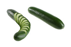 Cucumber whole and sliced. Close up Stock Photography