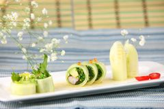 Cucumber wrap roll Stock Images