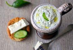 Cucumber yoghurt dip (Tzatziki) Royalty Free Stock Images