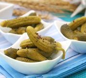 Cucumbers. Some small salted cucumbers in 3 bowls Stock Images