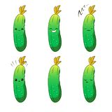 Cute cartoon vegetable vector character set isolated on white. Emotions. Stickers. kawaii vector illustration